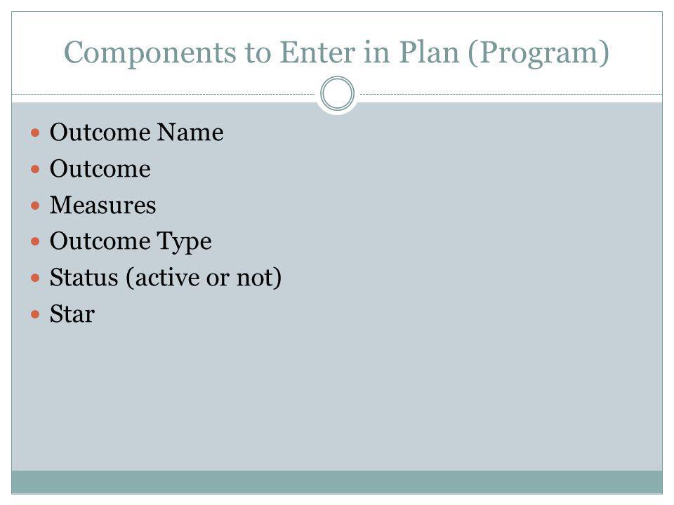 Components to Enter in Plan (Program) Outcome Name Outcome Measures Outcome Type Status (active or not) Star