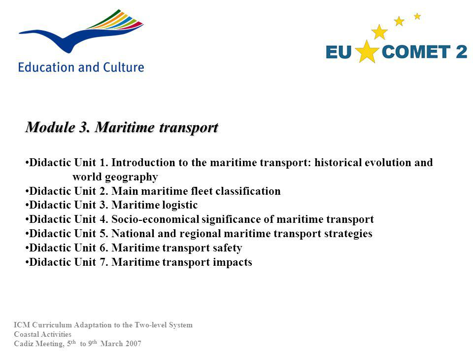 Module 3. Maritime transport Didactic Unit 1.