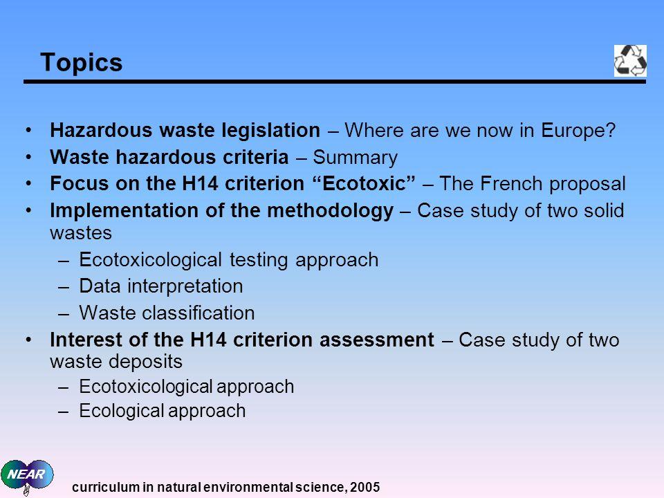 Topics Hazardous waste legislation – Where are we now in Europe.