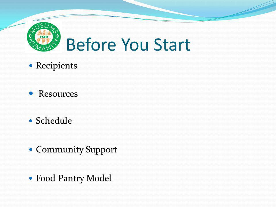 Before You Start Recipients Resources Schedule Community Support Food Pantry Model