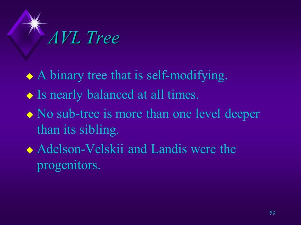 58 Problem with Binary Tree u Make the tree self-balancing.