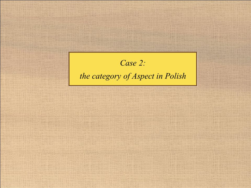 Case 2: the category of Aspect in Polish