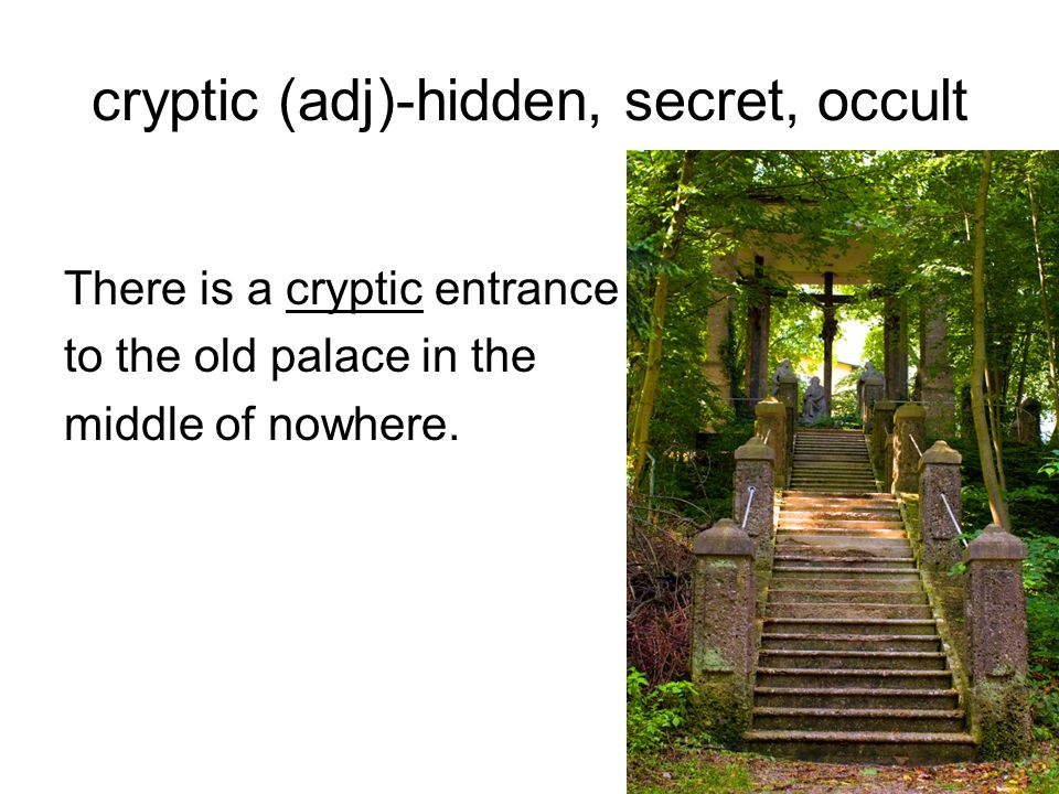 cryptic (adj)-hidden, secret, occult There is a cryptic entrance to the old palace in the middle of nowhere.