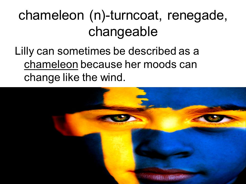 chameleon (n)-turncoat, renegade, changeable Lilly can sometimes be described as a chameleon because her moods can change like the wind.