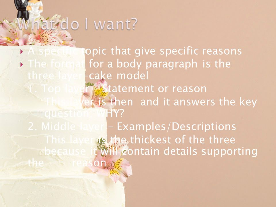 A specific topic that give specific reasons The format for a body paragraph is the three layer-cake model 1. Top layer – Statement or reason This laye
