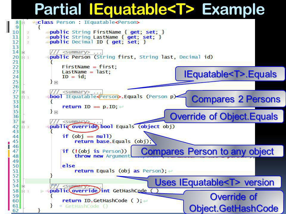 Partial IEquatable Example IEquatable<T>.Equals Override of Object.Equals Override of Object.GetHashCode Compares 2 Persons Compares Person to any obj