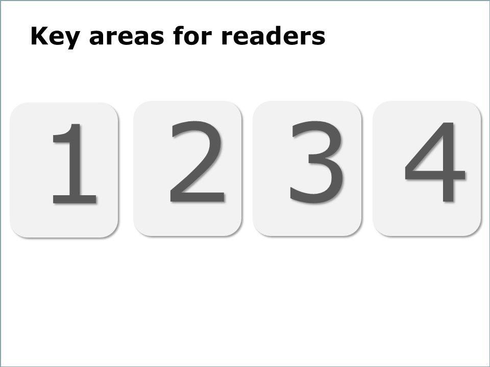 14 Key areas for readers 1 1 2 2 3 3 4 4