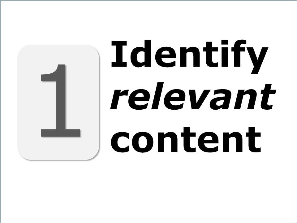 15 1 1 Identify relevant content