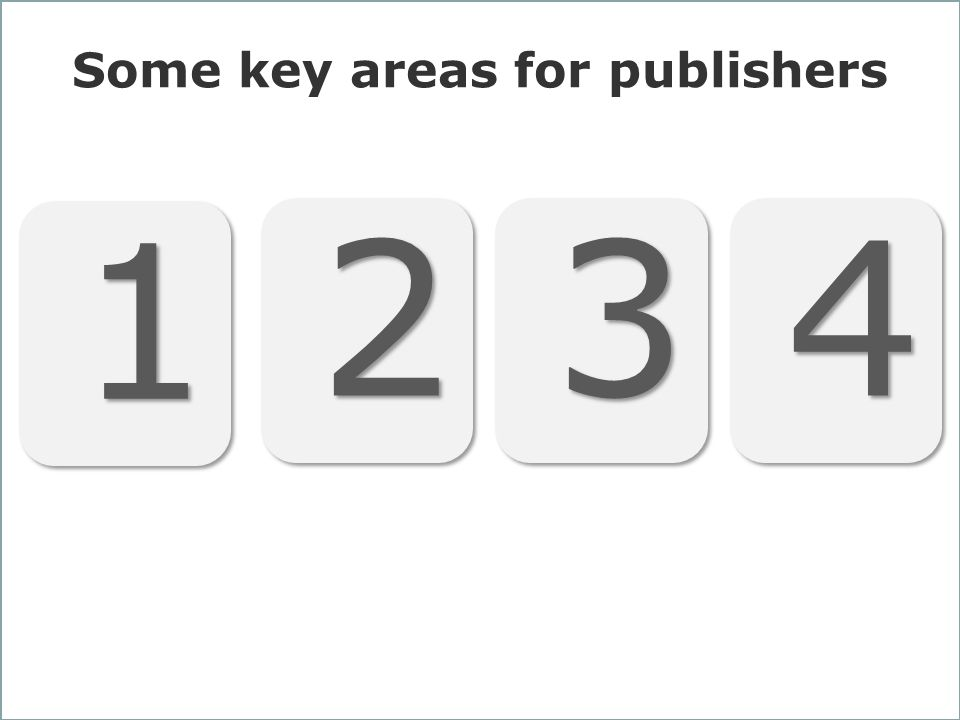 30 Some key areas for publishers 1 1 2 2 3 3 4 4
