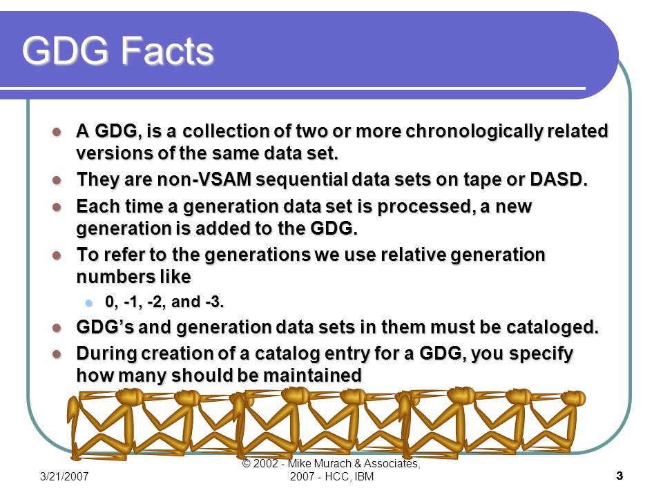 3/21/2007 © 2002 - Mike Murach & Associates, 2007 - HCC, IBM3 GDG Facts A GDG, is a collection of two or more chronologically related versions of the same data set.