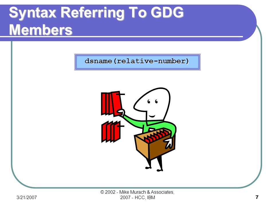 3/21/2007 © 2002 - Mike Murach & Associates, 2007 - HCC, IBM6 Formatting Generation And Version Numbers Format How the absolute generation numbers for the GDG members change Data set name Data set name Relative namebefore processingafter processing PAYMAST(0)PAYMAST.G0012V00PAYMAST.G0013V00 PAYMAST(-1)PAYMAST.G0011V00PAYMAST.G0012V00 PAYMAST(-2)PAYMAST.G0010V00PAYMAST.G0011V00 PAYMAST(-3)PAYMAST.G0009V00PAYMAST.G0010V00 datasetname.GnnnnVnn