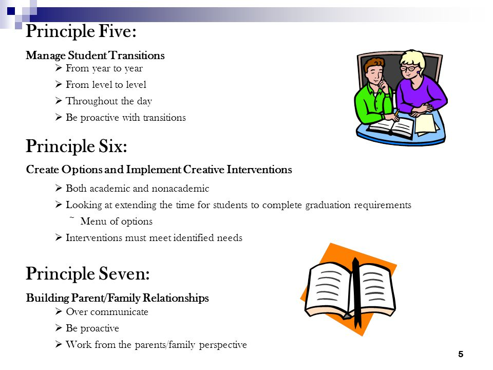 5 Principle Five: Manage Student Transitions Both academic and nonacademic Looking at extending the time for students to complete graduation requirements ~ Menu of options Interventions must meet identified needs Principle Six: Create Options and Implement Creative Interventions From year to year From level to level Throughout the day Be proactive with transitions Principle Seven: Building Parent/Family Relationships Over communicate Be proactive Work from the parents/family perspective