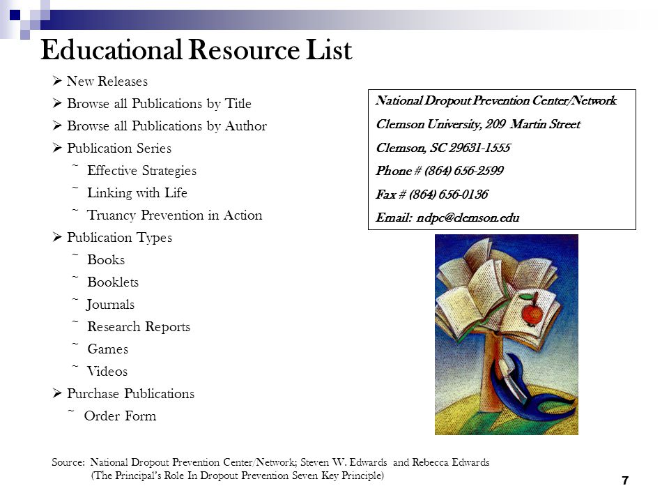 7 Educational Resource List New Releases Browse all Publications by Title Browse all Publications by Author Publication Series ~ Effective Strategies ~ Linking with Life ~ Truancy Prevention in Action Publication Types ~ Books ~ Booklets ~ Journals ~ Research Reports ~ Games ~ Videos Purchase Publications ~ Order Form National Dropout Prevention Center/Network Clemson University, 209 Martin Street Clemson, SC 29631-1555 Phone # (864) 656-2599 Fax # (864) 656-0136 Email: ndpc@clemson.edu Source: National Dropout Prevention Center/Network; Steven W.