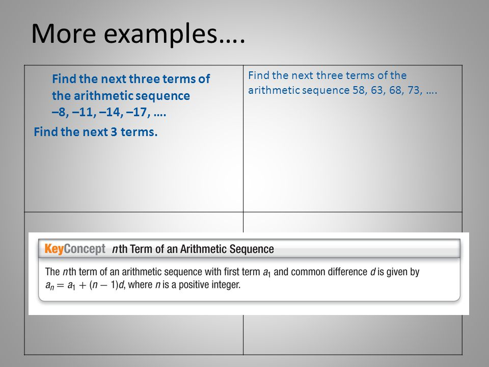 More examples….Find the next three terms of the arithmetic sequence 58, 63, 68, 73, ….