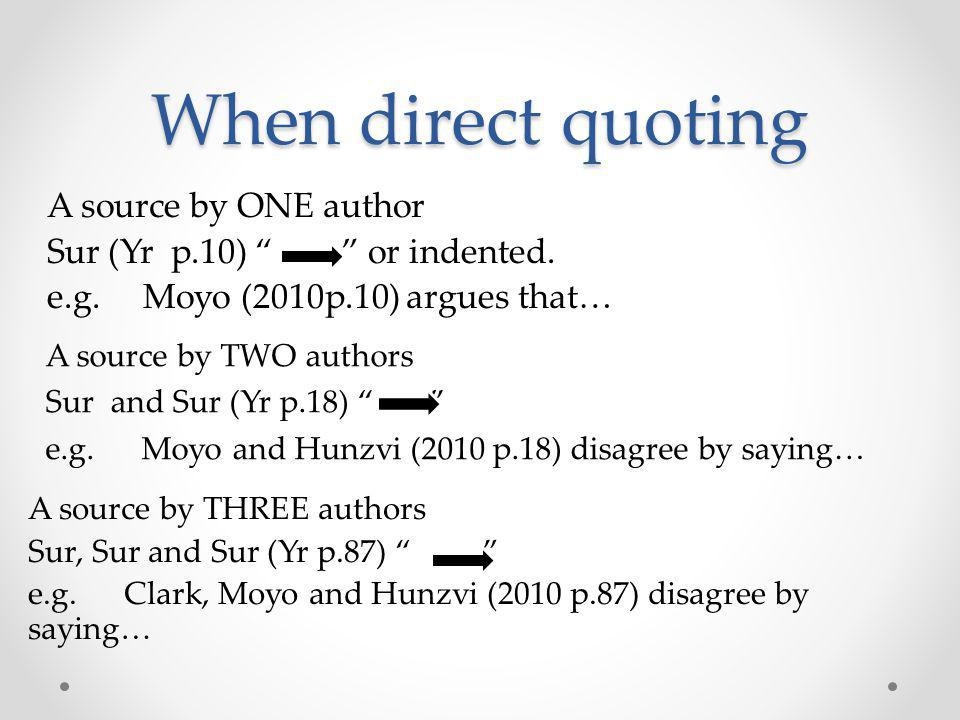 When direct quoting A source by ONE author Sur (Yr p.10) or indented.