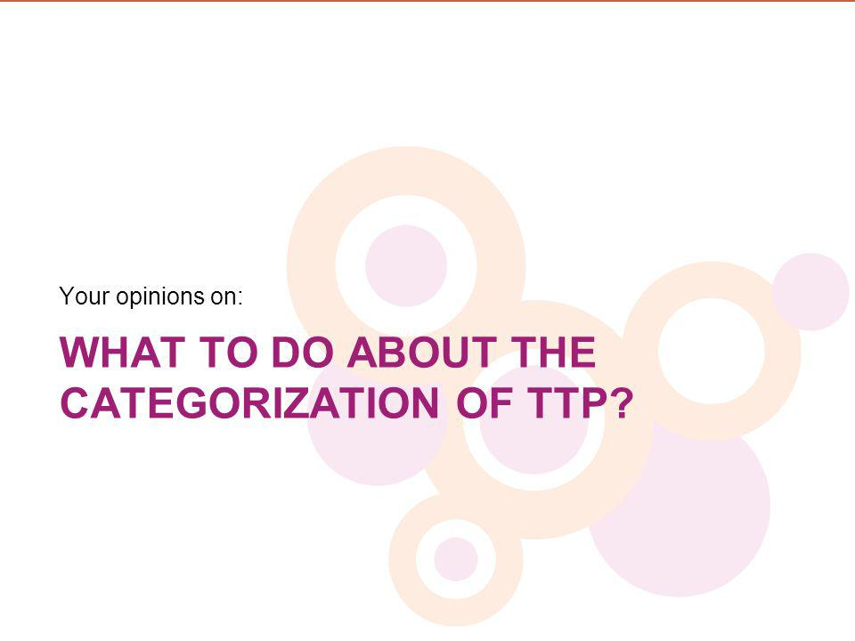 WHAT TO DO ABOUT THE CATEGORIZATION OF TTP? Your opinions on: