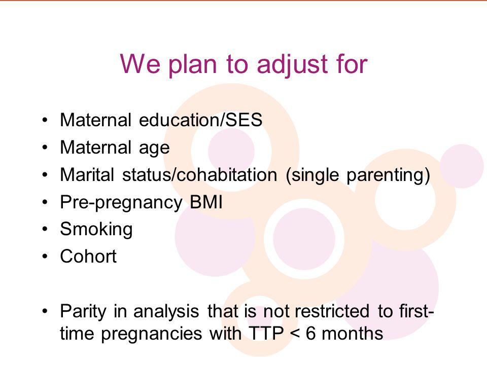 We plan to adjust for Maternal education/SES Maternal age Marital status/cohabitation (single parenting) Pre-pregnancy BMI Smoking Cohort Parity in an