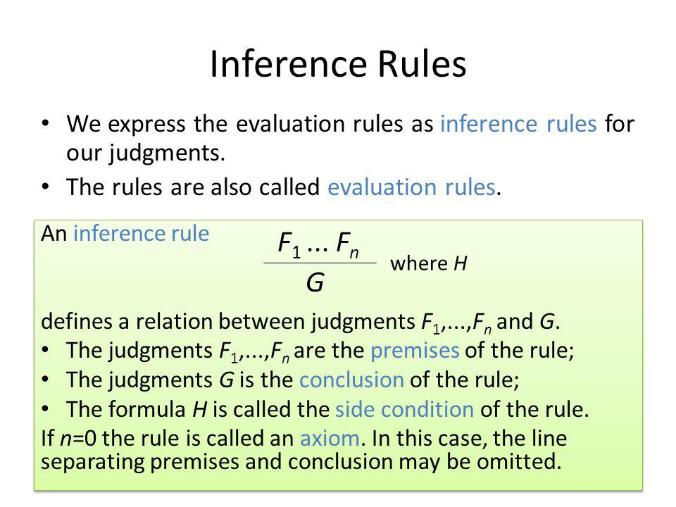 Inference Rules We express the evaluation rules as inference rules for our judgments. The rules are also called evaluation rules. An inference rule de