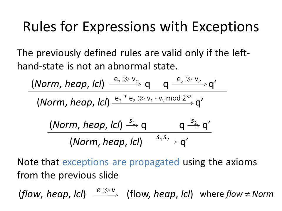 Rules for Expressions with Exceptions The previously defined rules are valid only if the left- hand-state is not an abnormal state. (Norm, heap, lcl)
