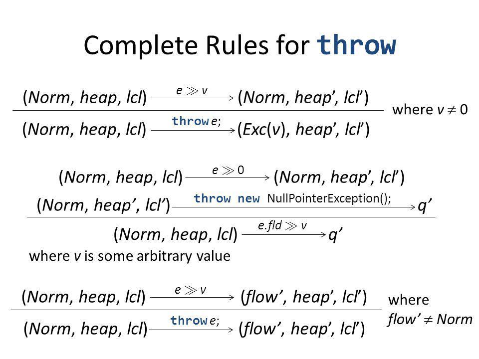 (Norm, heap, lcl) (Norm, heap, lcl) e À ve À v (Norm, heap, lcl) (Exc(v), heap, lcl) throw e; (Norm, heap, lcl) (Norm, heap, lcl) e À 0 (Norm, heap, lcl) q throw new NullPointerException(); (Norm, heap, lcl) q e.fld À v where v is some arbitrary value Complete Rules for throw where v 0 (Norm, heap, lcl) (flow, heap, lcl) e À ve À v throw e; where flow Norm
