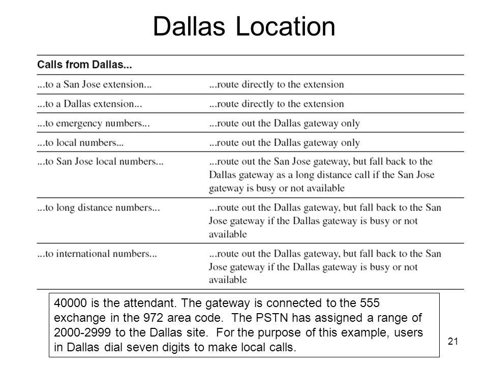 21 Dallas Location 40000 is the attendant.