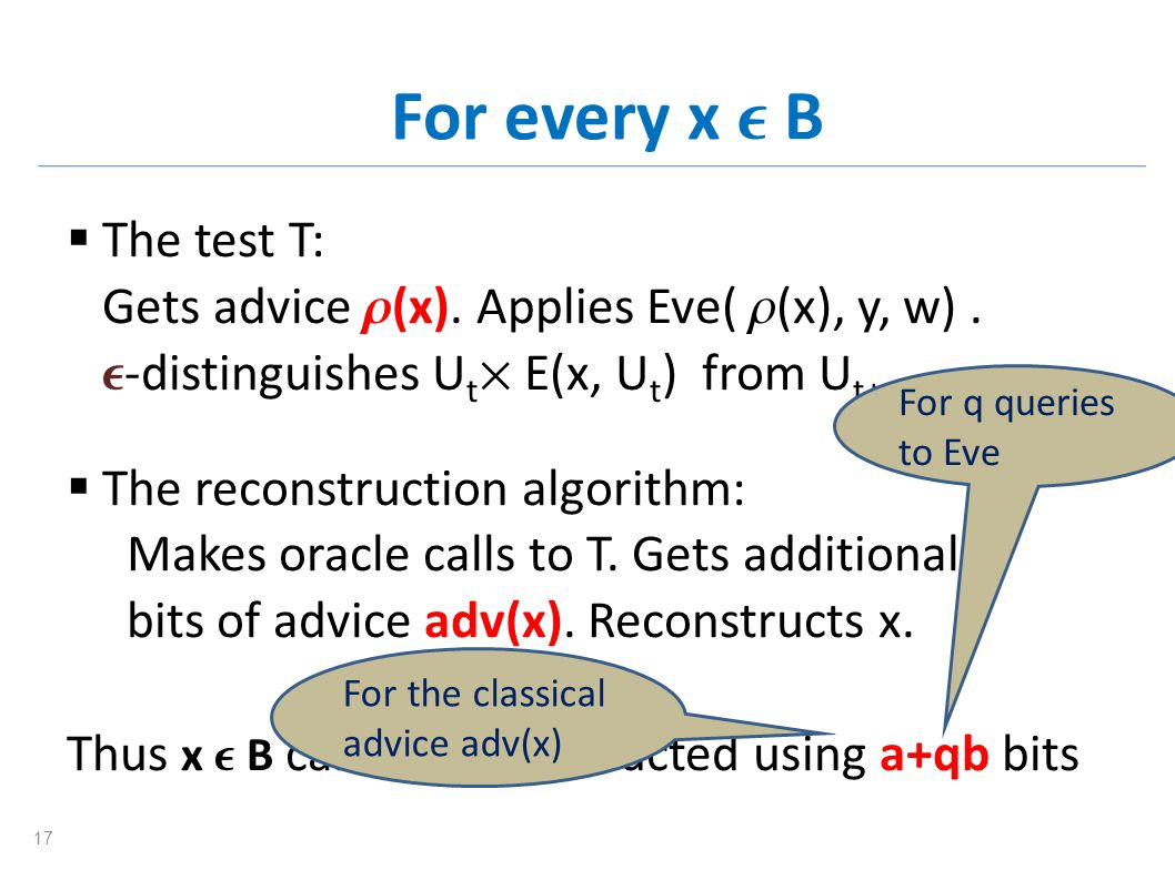 For every x B The test T: Gets advice (x). Applies Eve( (x), y, w). -distinguishes U t E(x, U t ) from U t+m. The reconstruction algorithm: Makes orac