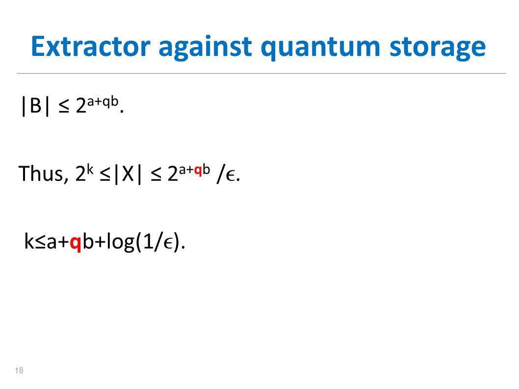 Extractor against quantum storage |B| 2 a+qb. Thus, 2 k |X| 2 a+qb /. ka+qb+log(1/ ). 18
