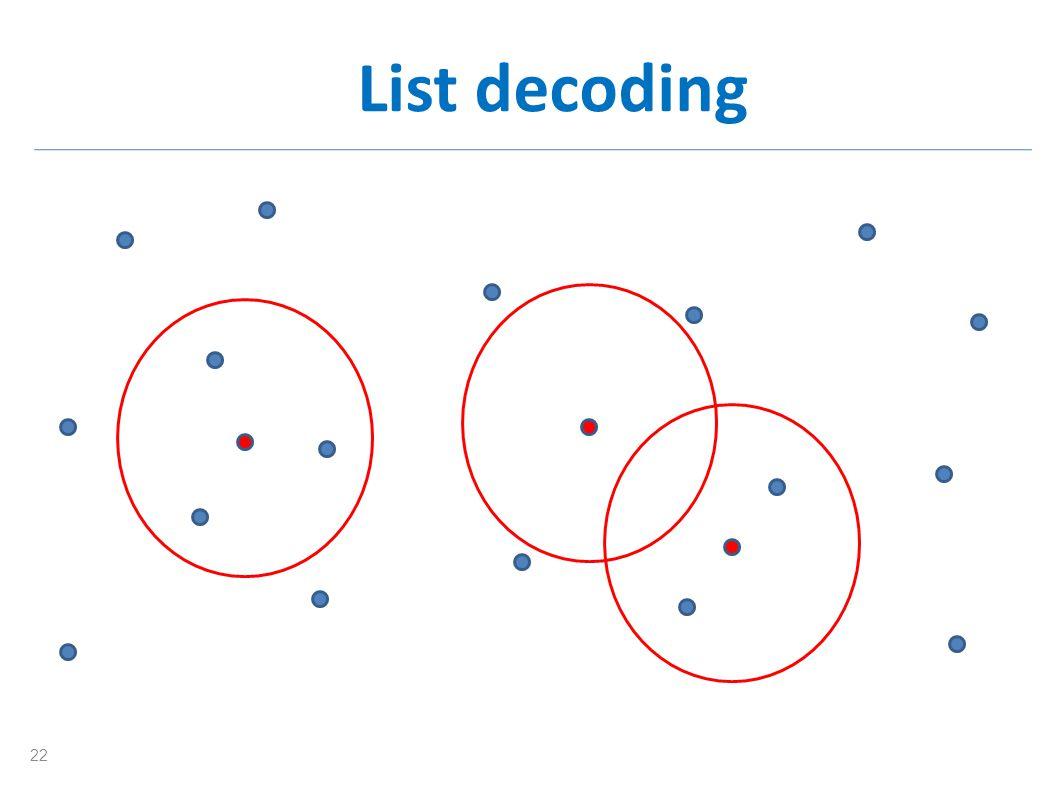 List decoding 22