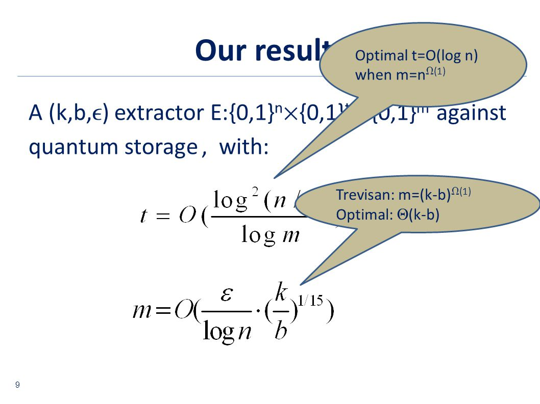 Our result A (k,b, ) extractor E:{0,1} n {0,1} t {0,1} m against quantum storage, with: Optimal t=O(log n) when m=n (1) Trevisan: m=(k-b) (1) Optimal: