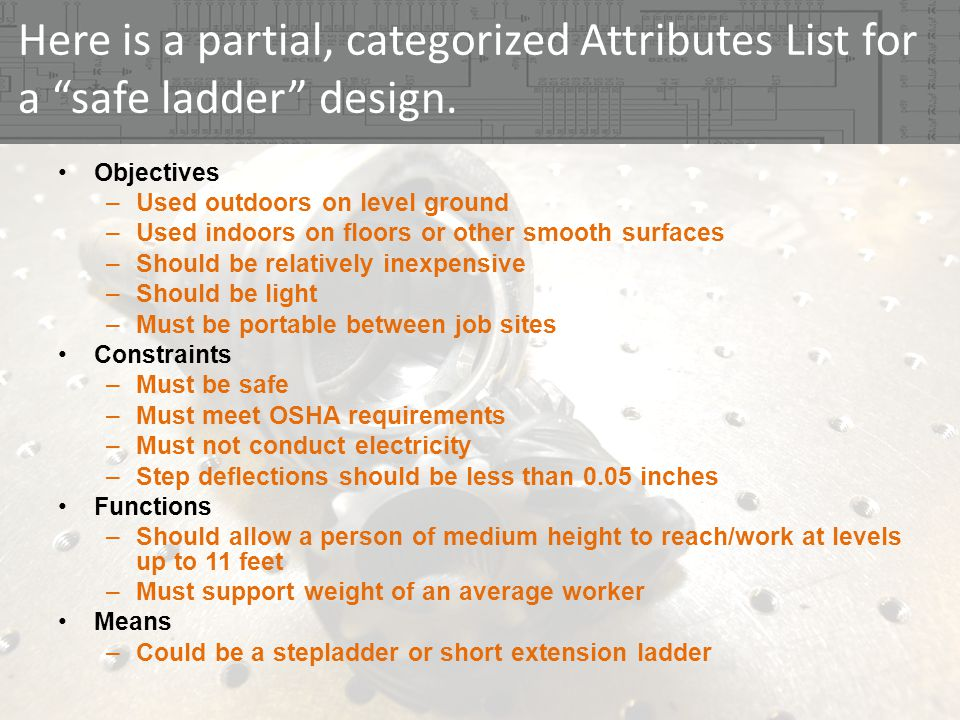 Here is a partial, categorized Attributes List for a safe ladder design. Objectives –Used outdoors on level ground –Used indoors on floors or other sm