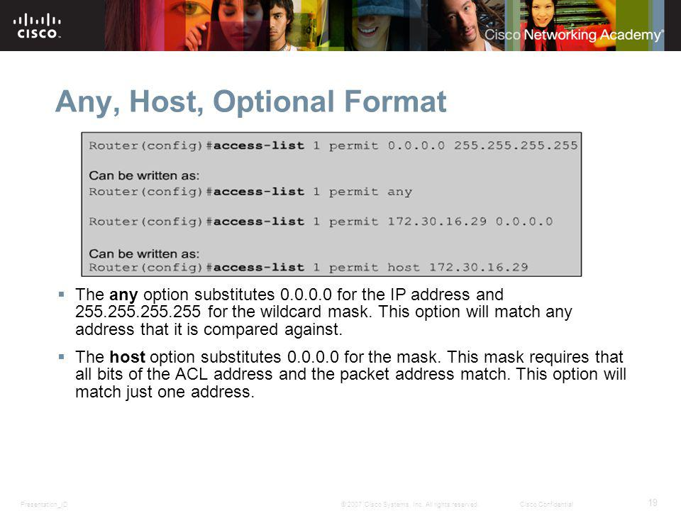 Presentation_ID 19 © 2007 Cisco Systems, Inc. All rights reserved.Cisco Confidential Any, Host, Optional Format The any option substitutes 0.0.0.0 for