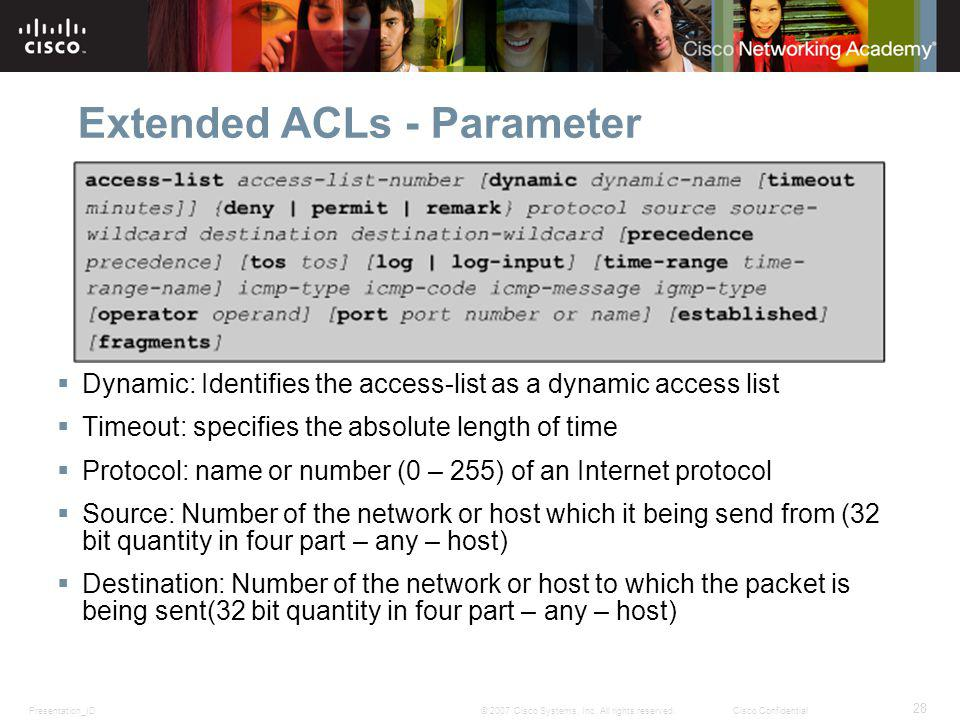 Presentation_ID 28 © 2007 Cisco Systems, Inc. All rights reserved.Cisco Confidential Extended ACLs - Parameter Dynamic: Identifies the access-list as