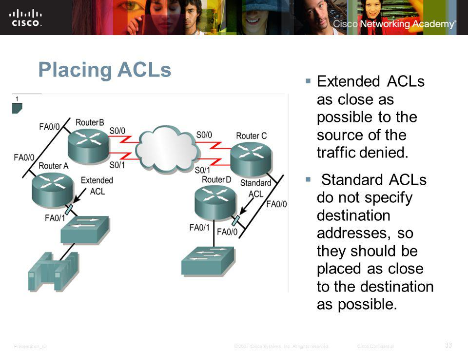 Presentation_ID 33 © 2007 Cisco Systems, Inc. All rights reserved.Cisco Confidential Placing ACLs Extended ACLs as close as possible to the source of