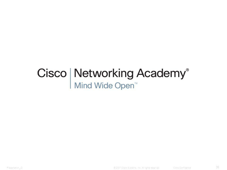 Presentation_ID 36 © 2007 Cisco Systems, Inc. All rights reserved.Cisco Confidential