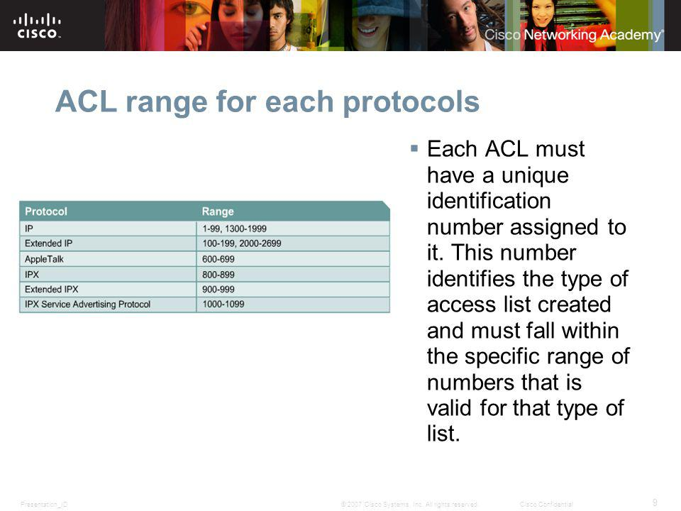 Presentation_ID 9 © 2007 Cisco Systems, Inc. All rights reserved.Cisco Confidential ACL range for each protocols Each ACL must have a unique identific