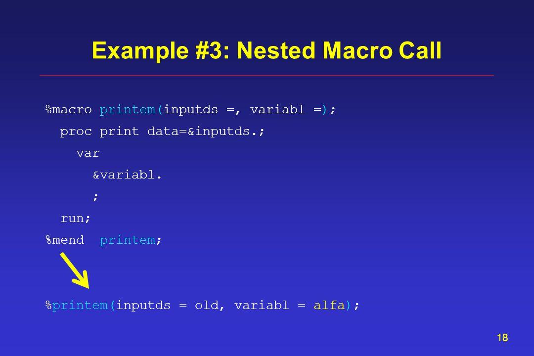 17 proc means data = old; var &mylist.; output out = oldstats (drop=_type_ _freq_) ; run; Example #2: PROC MEANS statistics %iterlist(list = &mylist., code = %str( n(?)=?_nb)) %iterlist(list = &mylist., code = %str(mean(?)=?_mn)) %iterlist(list = &mylist., code = %str( std(?)=?_sd))