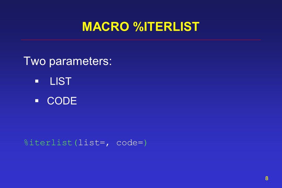 8 MACRO %ITERLIST Two parameters: LIST CODE %iterlist(list=, code=)