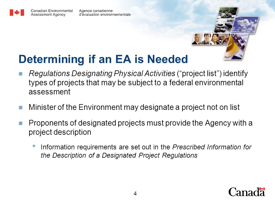 4 Determining if an EA is Needed Regulations Designating Physical Activities (project list) identify types of projects that may be subject to a federal environmental assessment Minister of the Environment may designate a project not on list Proponents of designated projects must provide the Agency with a project description Information requirements are set out in the Prescribed Information for the Description of a Designated Project Regulations
