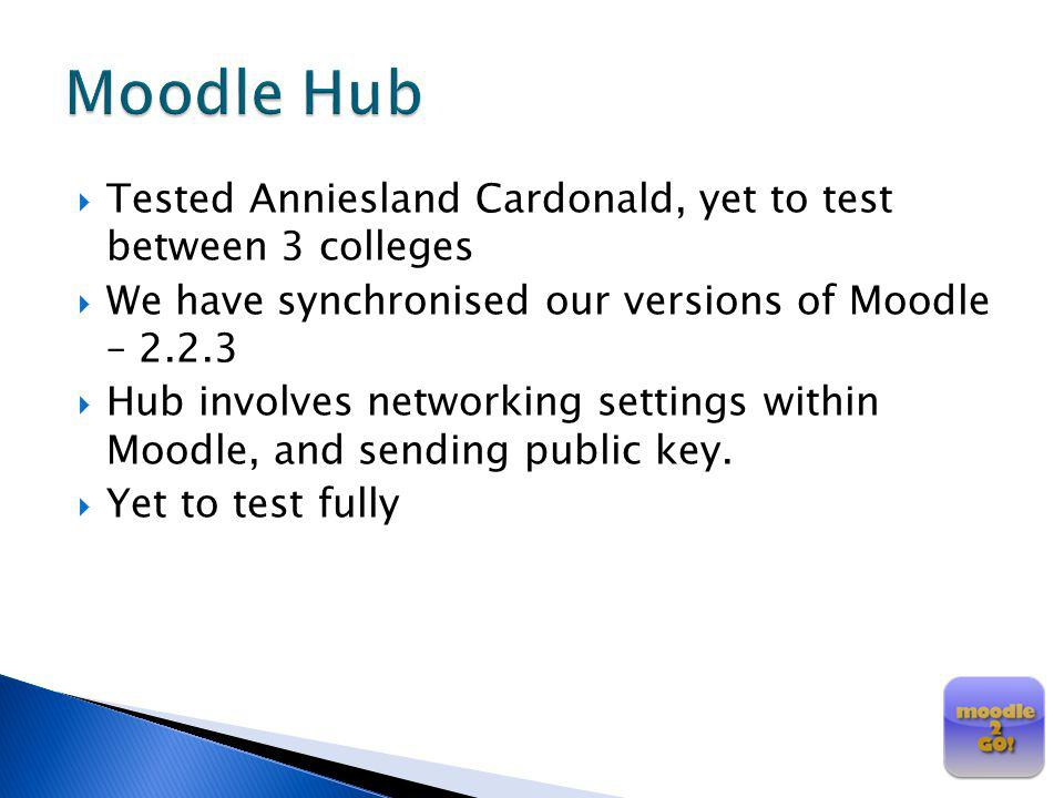Tested Anniesland Cardonald, yet to test between 3 colleges We have synchronised our versions of Moodle – 2.2.3 Hub involves networking settings withi