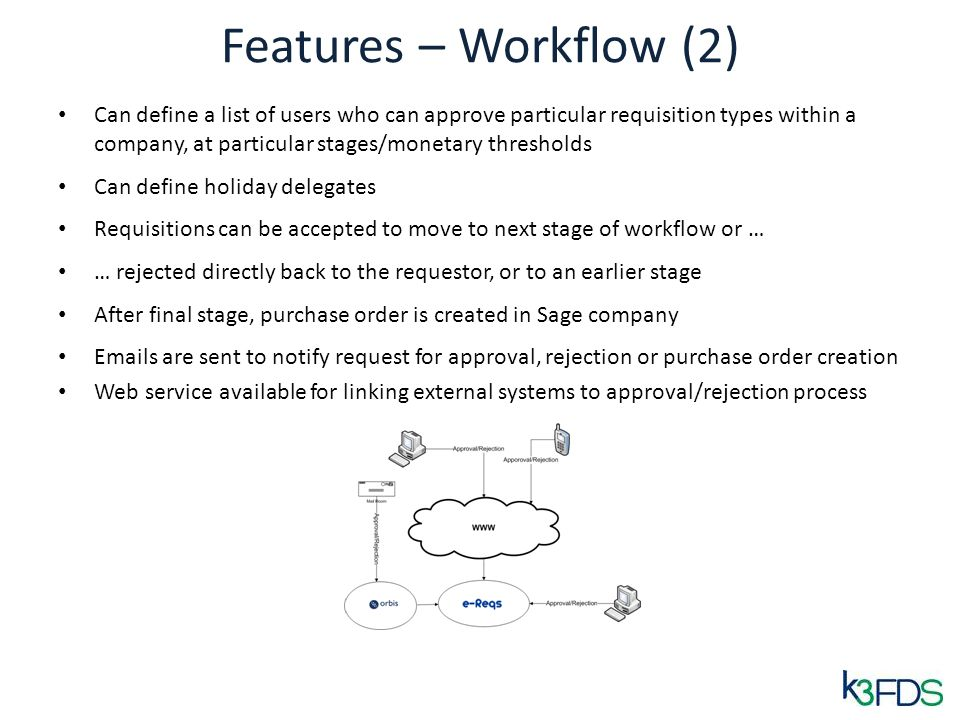 Features – Workflow (2) Can define a list of users who can approve particular requisition types within a company, at particular stages/monetary thresholds Can define holiday delegates Requisitions can be accepted to move to next stage of workflow or … … rejected directly back to the requestor, or to an earlier stage After final stage, purchase order is created in Sage company Emails are sent to notify request for approval, rejection or purchase order creation Web service available for linking external systems to approval/rejection process