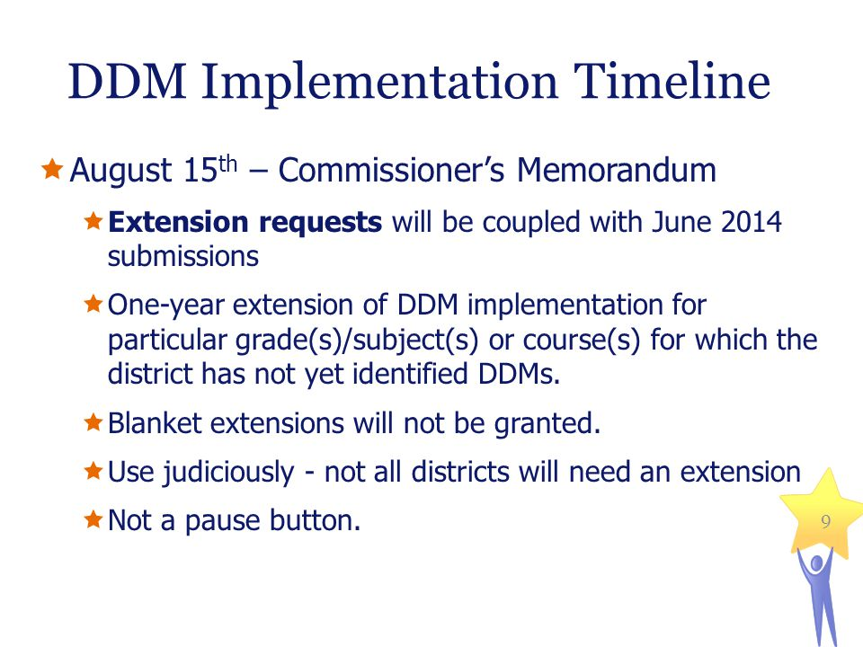 DDM Implementation Timeline August 15 th – Commissioners Memorandum Extension requests will be coupled with June 2014 submissions One-year extension of DDM implementation for particular grade(s)/subject(s) or course(s) for which the district has not yet identified DDMs.