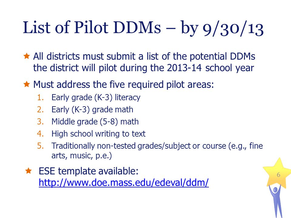 List of Pilot DDMs – by 9/30/13 All districts must submit a list of the potential DDMs the district will pilot during the 2013-14 school year Must add