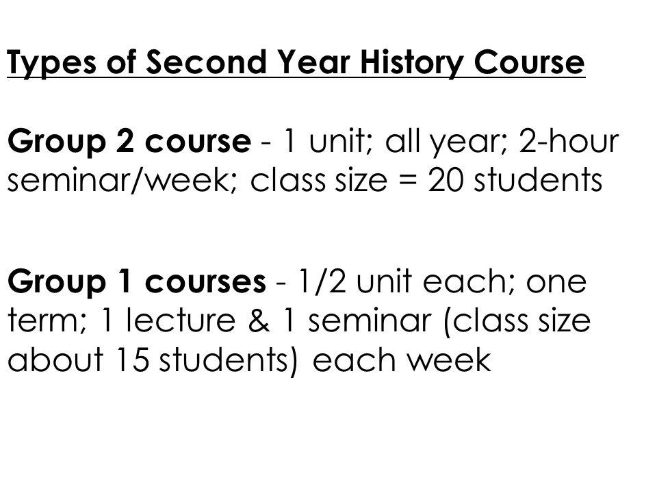 Second Year History courses… HS2301: Research Skills – 1/2 unit; term1 HS2300 Independent Essay – 1/2 unit; term 2 Meet with research group/choose title in summer term; skills programme in term 1; research & write 5,000 word essay in term 2
