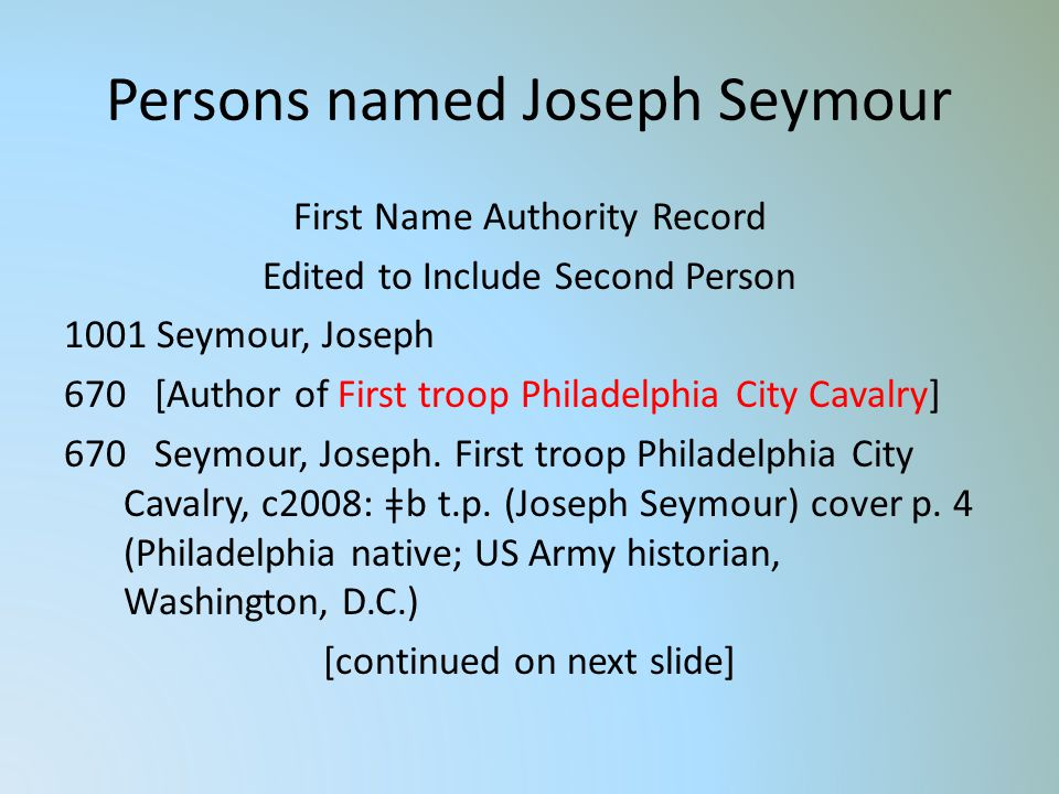 Persons named Joseph Seymour First Name Authority Record Edited to Include Second Person 1001 Seymour, Joseph 670 [Author of First troop Philadelphia City Cavalry] 670 Seymour, Joseph.