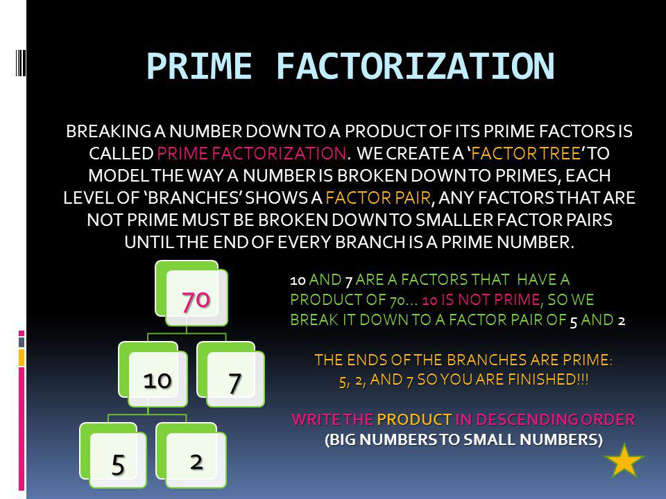 PRIME FACTORIZATION BREAKING A NUMBER DOWN TO A PRODUCT OF ITS PRIME FACTORS IS CALLED PRIME FACTORIZATION.