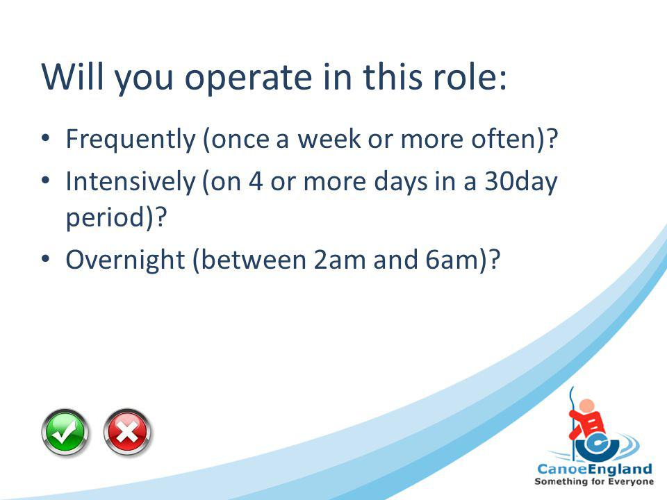 Will you operate in this role: Frequently (once a week or more often)? Intensively (on 4 or more days in a 30day period)? Overnight (between 2am and 6