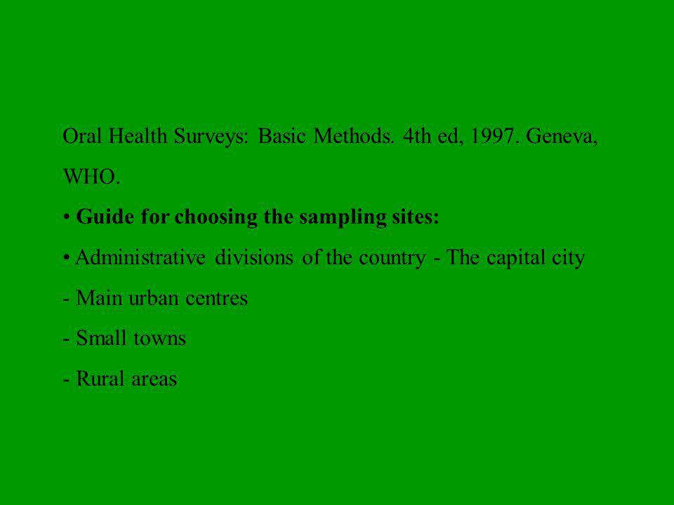 Oral Health Surveys: Basic Methods.4th ed, 1997. Geneva, WHO.