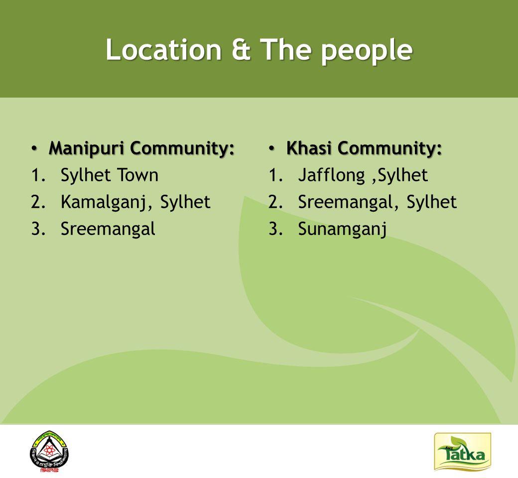 Location & The people Manipuri Community: Manipuri Community: 1.Sylhet Town 2.Kamalganj, Sylhet 3.Sreemangal Khasi Community: Khasi Community: 1.Jafflong,Sylhet 2.Sreemangal, Sylhet 3.Sunamganj