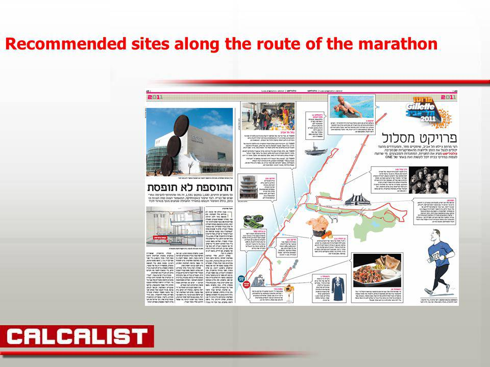 Recommended sites along the route of the marathon