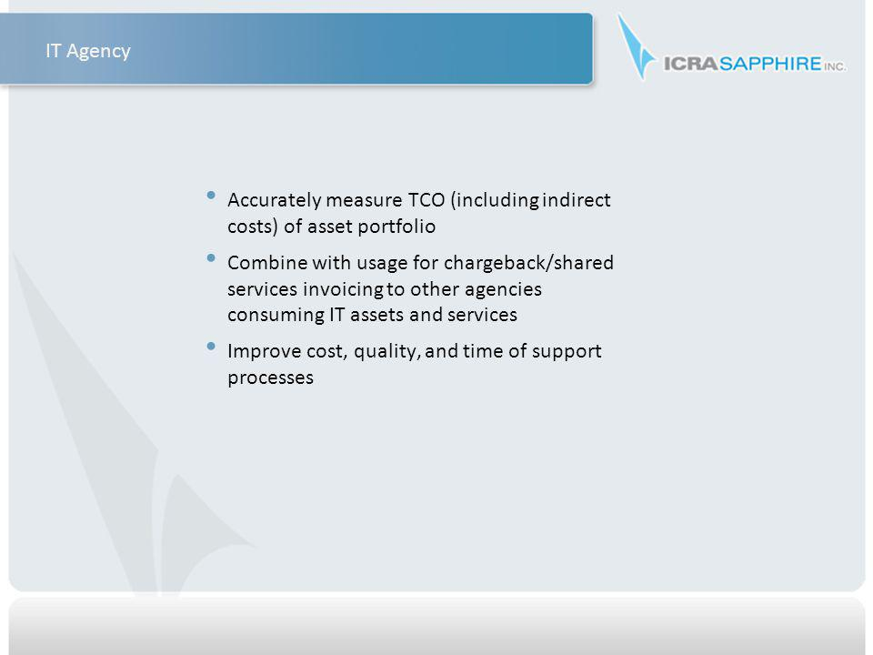 Accurately measure TCO (including indirect costs) of asset portfolio Combine with usage for chargeback/shared services invoicing to other agencies consuming IT assets and services Improve cost, quality, and time of support processes IT Agency